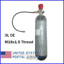 3L Air Tank CE 4500psi PCP Carbon Fiber M18x1.5 With Regulator Hose Paintball
