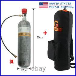 3L CE Air Tank Carbon Fiber 4500psi PCP Scuba Valve With Bag Hiking M18x1.5 US