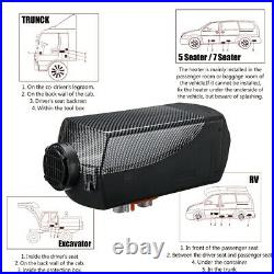5KW 12V Carbon Fiber Diesel Air Heater LCD Thermostat Tank Car Truck Boat Auto