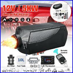 5KW 12V Carbon Fiber Diesel Air Heater LCD Thermostat Tank RV Trailers Truck US