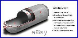 Full Set Shooting Carbon Fiber 3L CE 4500Psi Scuba Air Bottle PCP Tank Mfr 2019