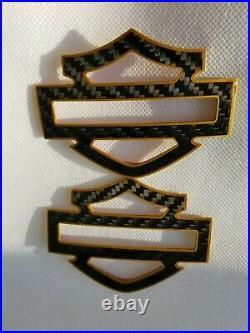 Harley CVO custom tank emblems 3.2 carbon fiber- black w. Gold front outline