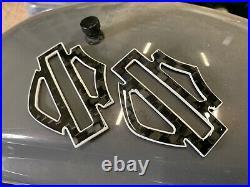 Harley CVO custom tank emblems badges 3.2 carbon fiber- w. White front outline