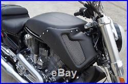 Harley V-Rod Muscle MATTE 100% Carbon Fiber Tank Side Fairing Cover Emblem VRSCF