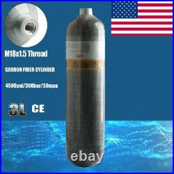 Hunting 3L CE Scuba Air Carbon Fiber Cylinder 4500psi PCP Tank Thread M18x1.5