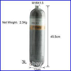 M18x1.5 Carbon Fiber 3L CE Scuba Air Cylinder 4500psi Tank With Vavle 4500Psi