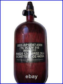 NINJA PAINTBALL SL2 CARBON FIBER AIR TANK 77/4500 SL 2 RED With HK Vice Grip