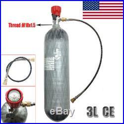 Outdoor Game 3L 4500Psi Gas Cylinder Carbon Fiber Air Scuba Tank with Valve Set US
