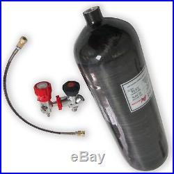 PCP 6.8Liter 4500psi Paintball Air Tank Carbon Fiber Cylinder Black Refill Sets