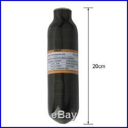 Paintball 0.22L Air Tank PCP Carbon Fiber Bottle 300bar/4500psi CE M18x1.5 Black