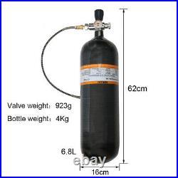 Paintball 6.8L CE 4500Psi Carbon Fiber Air Bottle PCP Scuba Tank With Valve
