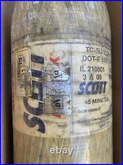 Scott 4.5 SCBA 4500psi Carbon Fiber 45 min 2 Tank Cylinders 04/05 FREE SHIPPING
