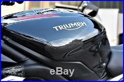 Triumph Daytona 675R 2013-2018 Carbon Tank Sliders Protectors Strauss Gloss Top